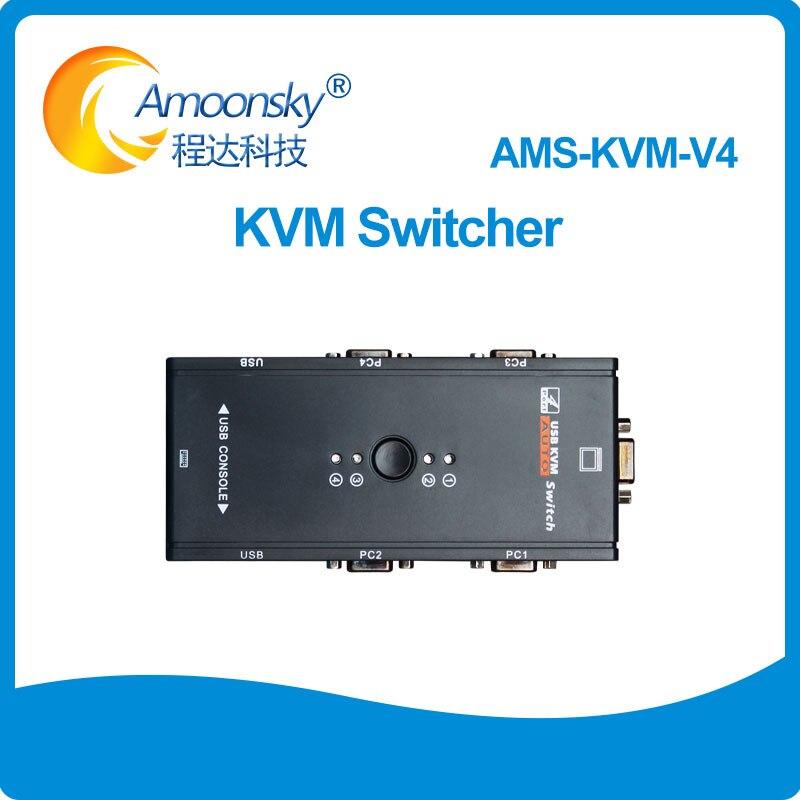 KVM Switch 4 ports USB 2.0 VGA Splitter Printer Mouse Keyboard Switcher 1920*1440 VGA Switch Box Adapter KVM-V4KVM Switch 4 ports USB 2.0 VGA Splitter Printer Mouse Keyboard Switcher 1920*1440 VGA Switch Box Adapter KVM-V4