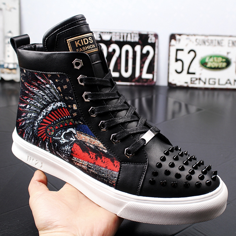 Stephoes Erkekler Moda Rahat yarım çizmeler Bahar Sonbahar Perçinler Punk Stil Sneakers Erkek Baskı Kalın Alt Yüksek Üst platform ayakkabılar'da  Grup 1