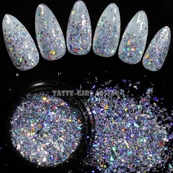 1 Jar Shiny Holographic Glitter Shimmering Irregular Fragment Powder Acrylic Nail Art Decoration DIY Tip GLS#