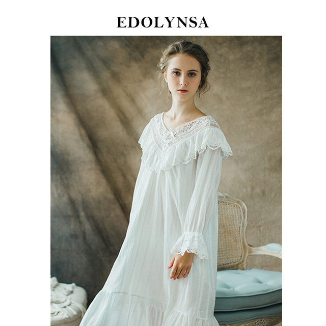 3f8e212df3 Nightgowns Sleepshirt White Lace Sleepwear Vintage Nightdress Indoor  Clothing Nightwear Solid Nightgown Female Home Dress  H364