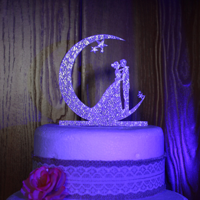 Couple On The Moon Wedding Cake Topper , Custom Cake Decoration, Acrylic  Gold Personalized Wedding