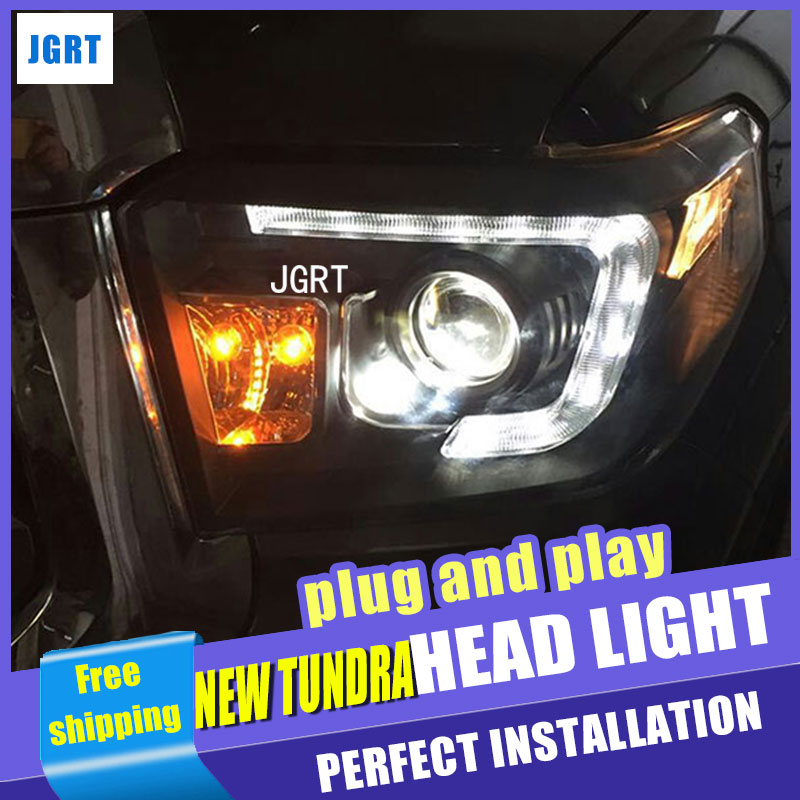 Car Styling  Headlights  for Toyota New tundra DoubleU Angel Eye LED DRL Lens Double Beam H7 HID Xenon bi xenon lens hireno headlamp for 2011 2015 toyota fortuner headlight assembly led drl angel lens double beam hid xenon 2pcs