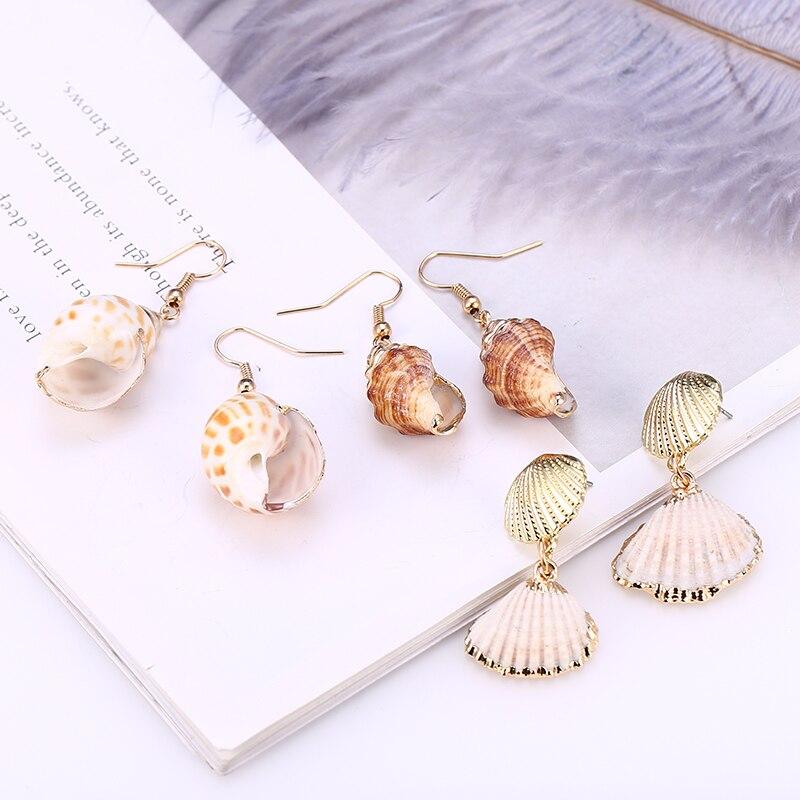 Bohopan New Sea Shell Earrings For Women Gold Color Geometric Drop Earring Summer Beach Ladies Fashion Jewelry 2019