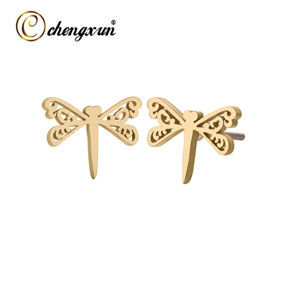 CHENGXUN Lovely Animal Dragonfly Stud Earrings Stainless Steel Wholesale Jewelry Tiny Bijoux Wedding Gift for Women Girl