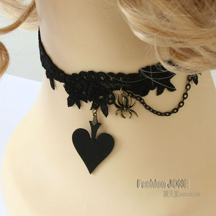 Womens Lady Handmade Lolita Gothic Punk Heart Spade PU Leather Spider Drop Chain Floral Black Lace Choker Short Collar Necklace