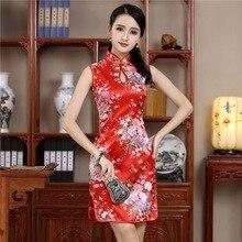 8588b4adb Rayon Chinese Women Mini Slim Cheongsam Sexy Print Floral Evening Party  Dress Vestidos Mandarin Collar Vintage