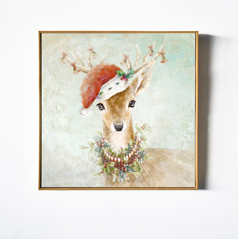 2017 Christmas Gift Winter Deer Reindeer with Red Christmas Hat Animal Wall Art Oil Painting on Canvas Print Decorative Picture