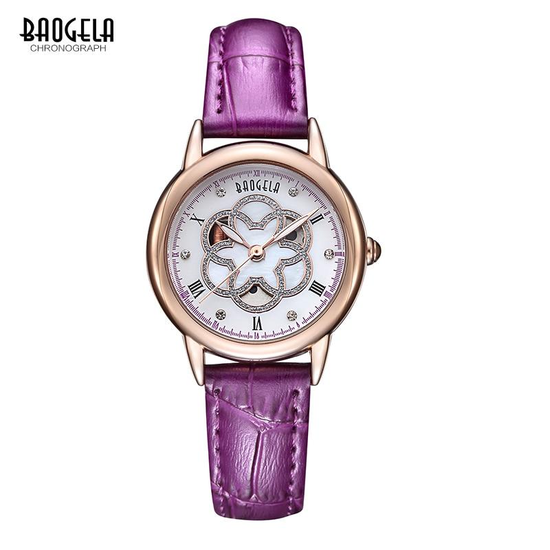Baogela Frauen Weißes Zifferblatt Luxus Elegant Diamant Quarz-armbanduhr Hohl Uhr Damen Armbanduhr