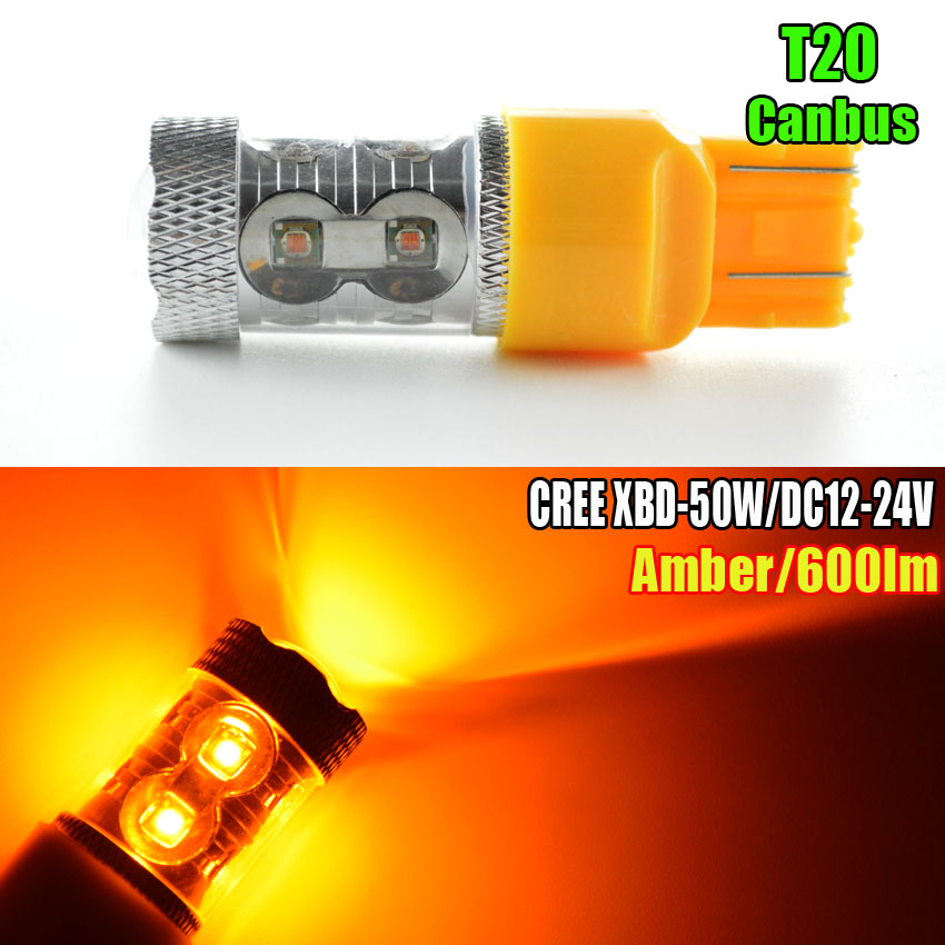 1PC 50W Projector LED T20 W21W 7440 7443 W21/5W Amber canbus no error car styling DRL Daytime Running light LAMP bulbs 12-24V 2pcs 12v 31mm 36mm 39mm 41mm canbus led auto festoon light error free interior doom lamp car styling for volvo bmw audi benz