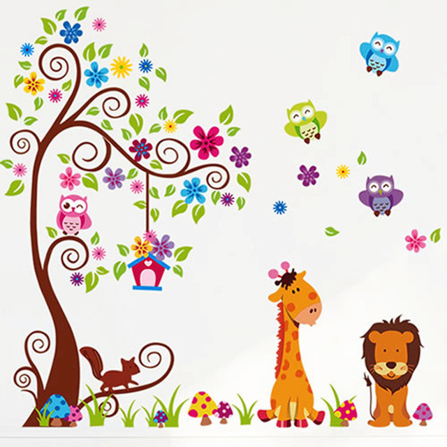 2 pieces set cartoon animal lion owl family tree wall mural stickers for kids room