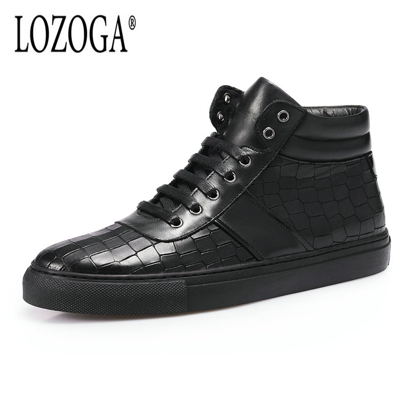 LOZOGA Genuine Leather Mens Boots Spring Autumn Crocodile Personality Casual Shoes Lace-Up Handmade High Shoes Black Comfortable