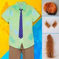 Mignon Licorne Film Zootopia Cosplay Costume Renard Nick Wilde Halloween Costumes parti uniforme vêtements pour hommes Chemise Pantalon Cravate perruque