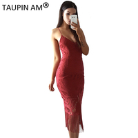 TAUPIN AM Sexy Back Lace Up Party Dresses Women Bodycon Backless Spaghetti Strap Dress Celebrity HL
