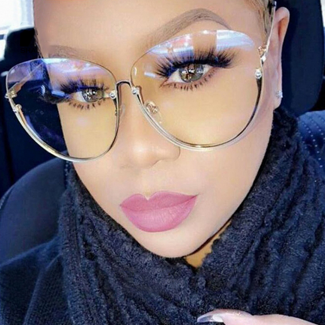 45b4febd66c Brand Designer Clear Sunglasses Semi Rimless Oversized Oval Sun Glasses For  Women 2017 Retro Vintage Shades