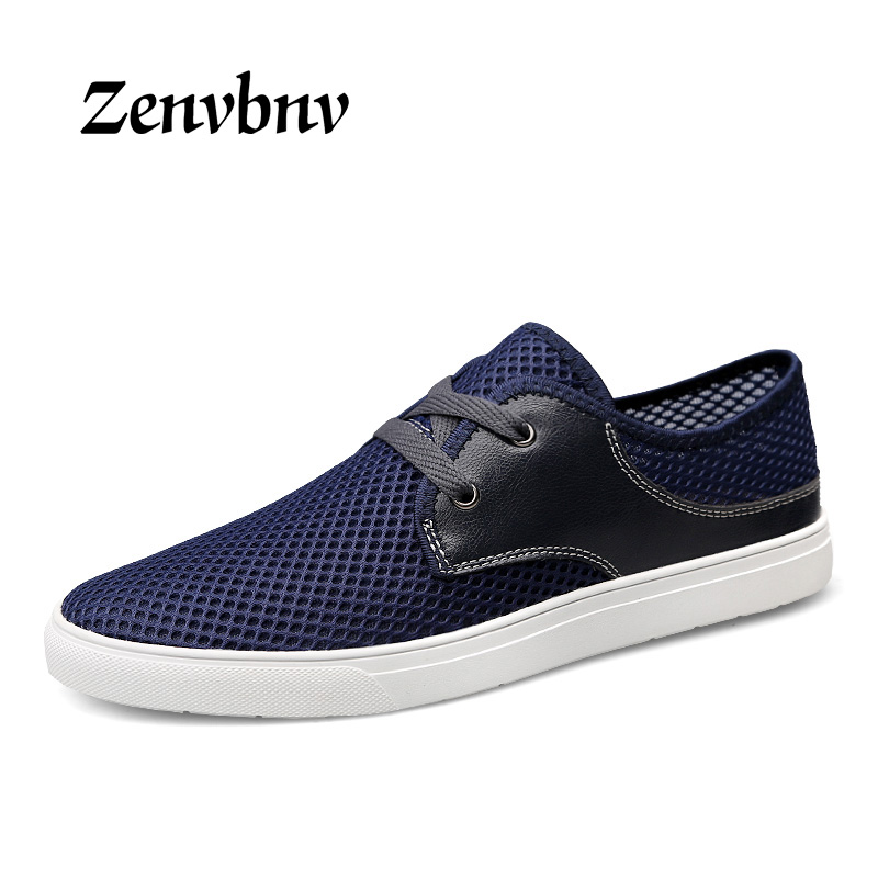 ZENVBNV 2018 New mesh PU Leather Men Summer Shoes Breathable Male Casual Shoes Fashion Soft Zapatos Hombre Summer Men Cool Shoes 2018 men summer shoes breathable lace up male casual shoes fashion chaussure homme soft zapatos hombre men genuine leather shoes