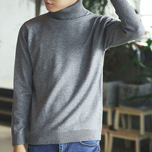 Winter Men Sweaters and Pullovers Turtleneck Wool Sweater Solid Color Cotton Knitted Sweater Male Slim Fit Sweater YZH70