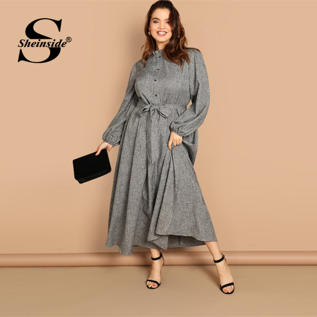 Sheinside Plus Size Casual Grey Ruffle Detail Dress Women Button Belted Shift Dresses Spring Elegant Stand Collar Maxi Dress