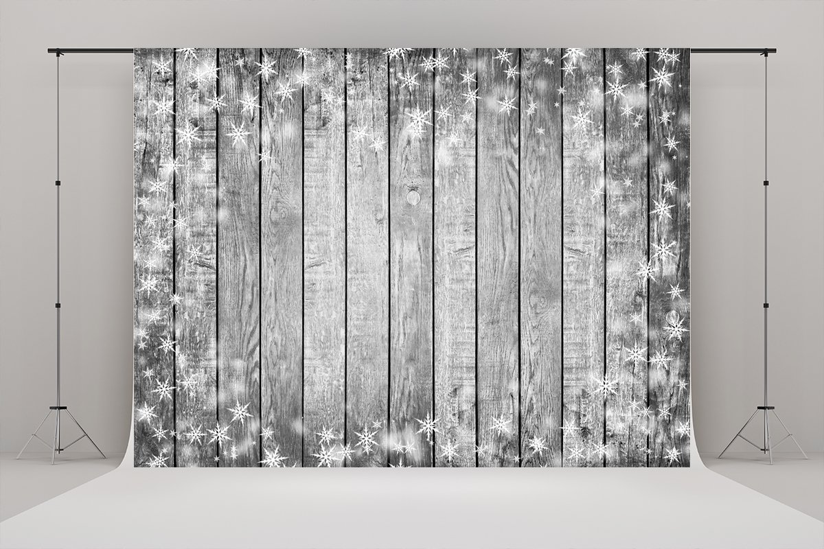 Grey Wood Wall Floor Texture Snow Stars Backgrounds Vinyl