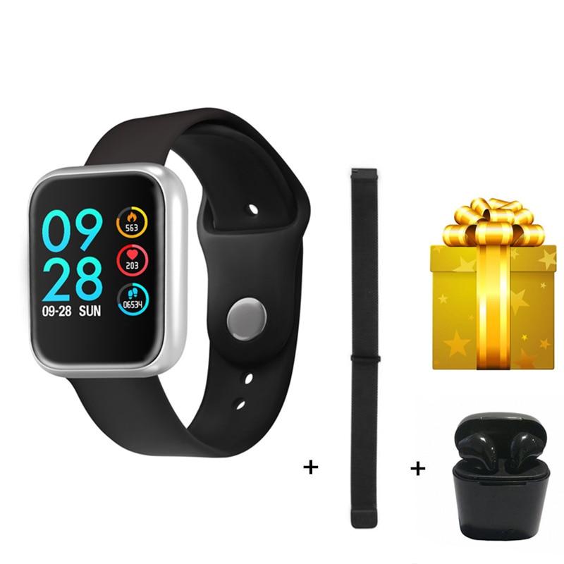 2019 smart bracelet steel belt earphone set men s smart watch compatible with ios and android