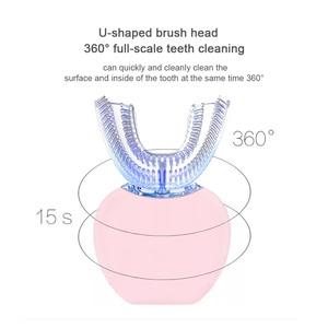 Image 4 - 360 derece otomatik elektrikli diş fırçası şarj edilebilir Sonic diş fırçası USB silikon fırça kafaları Oral bakım akıllı U tipi
