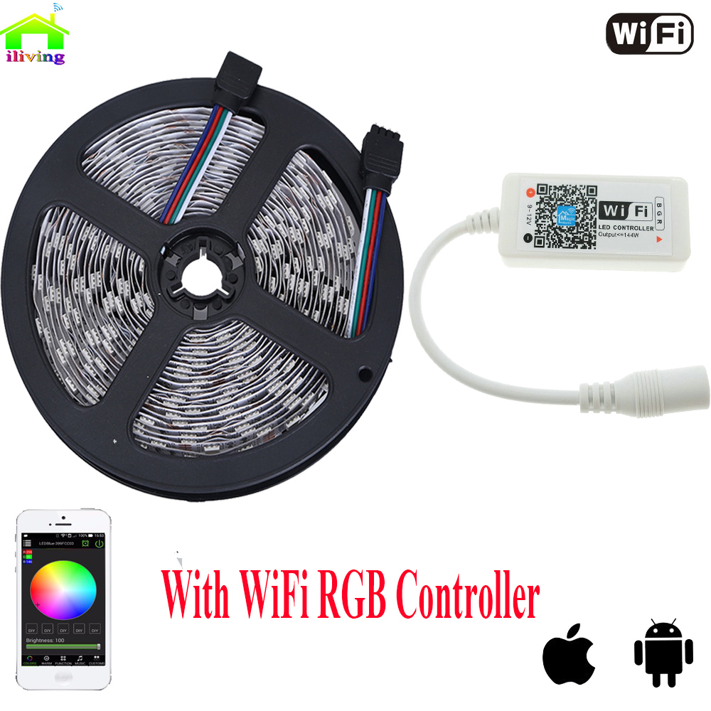 5050 ip20 rgb led strip dc12v diode tape light with wireless wifi mini controller smart control. Black Bedroom Furniture Sets. Home Design Ideas