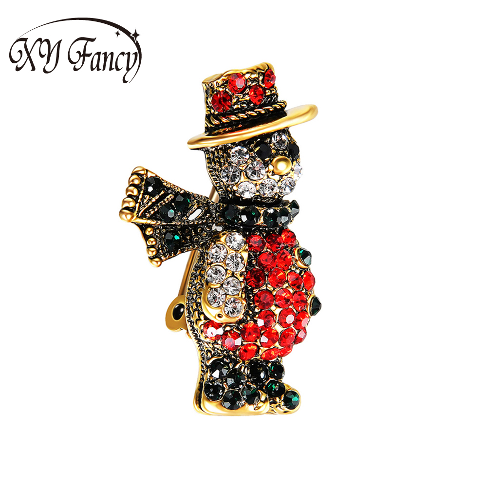 XY Fancy Women Delicate Special Colorful Santa Claus Rhinestone Studded Brooches Cartoon Ornament Pin Christmas Gifts zk15