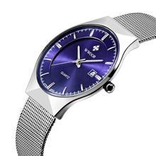 Relojes de los hombres Top Brand Luxury30M Fecha Impermeable Ultra Delgado Reloj Masculino Correa de Acero Hombres Reloj de Cuarzo Ocasional Reloj de Pulsera Deportivo