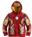 Los niños al por menor de muchachos de la capa Iron Man capitán américa hoodies chaquetas niños de dibujos animados bebé prendas de vestir exteriores para la primavera otoño