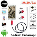 6LED 7mm Lens Android USB Endoscope Camera 5M 2M 1M Flexible Snake Pipe Inspection USB Android Device PC 2in1 Borescope Camera