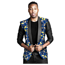 African Print Men Black Long Sleeve Coat Africa Dashiki Festive Blazers  Customize African Man's Suit Jacket African Costum