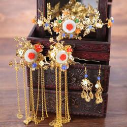 Традиционный китайский золотой феникс с длинными кисточками свадебные шпильки для волос контакты Тиара серьги украшения для головы