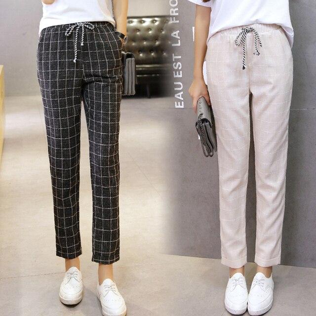 52b2aac450 2018 mujeres del verano del resorte pantalones elástico cintura plaid  casual lápiz pantalones moda tobillo-