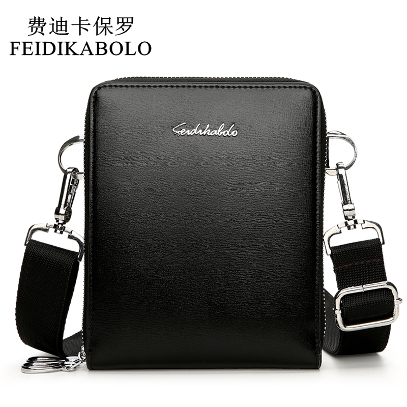 FEIDIKABOLO Leather Male Double Zipper Messenger Bags Small