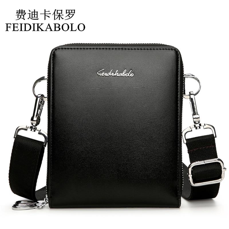 FEIDIKABOLO New Fashion Men Bags Leather Male Bag Double Zipper Men Messenger Bags Promotional Small Crossbody Shoulder Bag Man