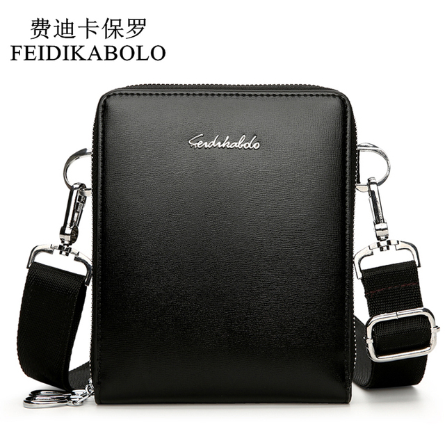 22b715902745 FEIDIKABOLO New Fashion Men Bags Leather Male Bag Double Zipper Men  Messenger Bags Promotional Small Crossbody