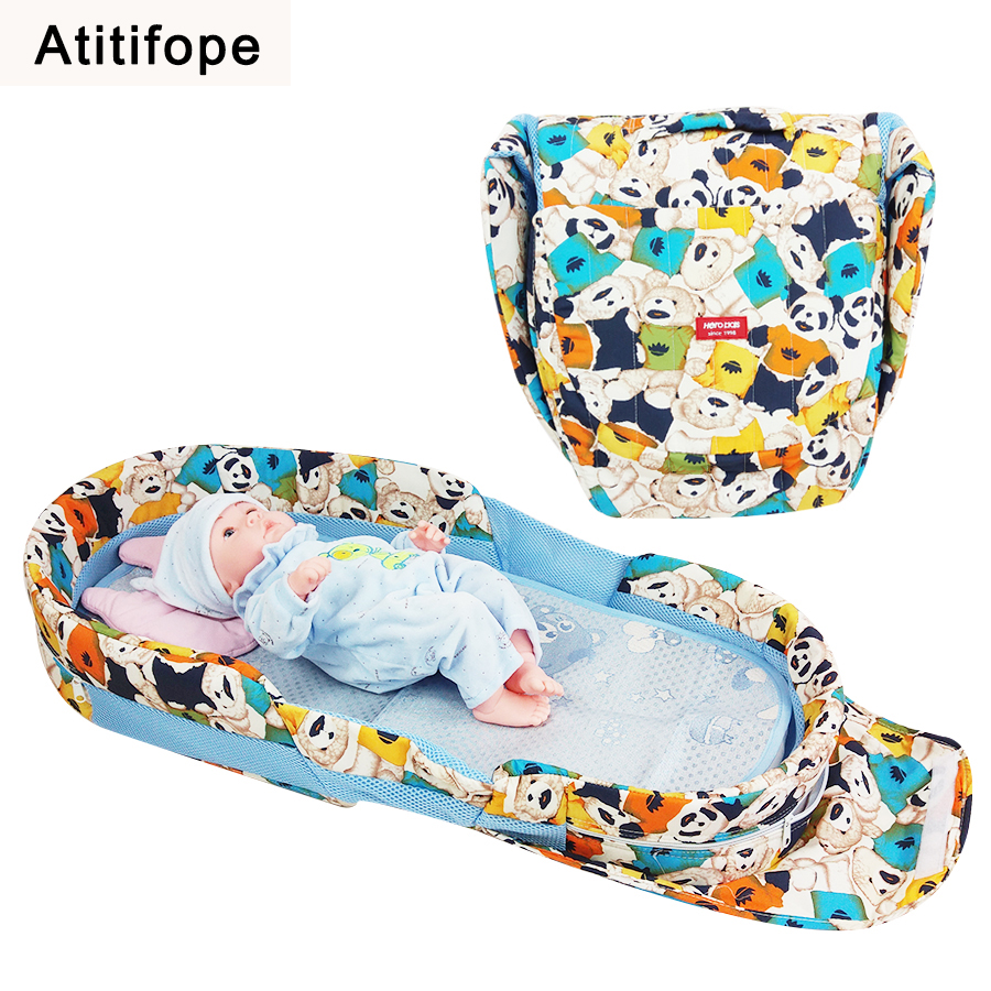 Panda pattern fashion Ultra easy baby bed folding bed thickening baby cradle folding portable crib baby