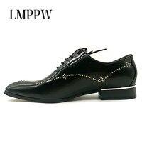 럭셔리 브랜드 남성 옥스포드 신발 뾰족한 발가락 정품