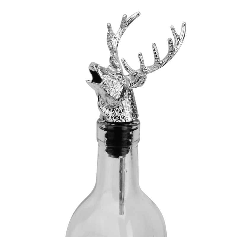 Hot Alloy Deer Stag Head Wine Pourer Wine Bottle Stoppers Aerators Bar Tools MDD88
