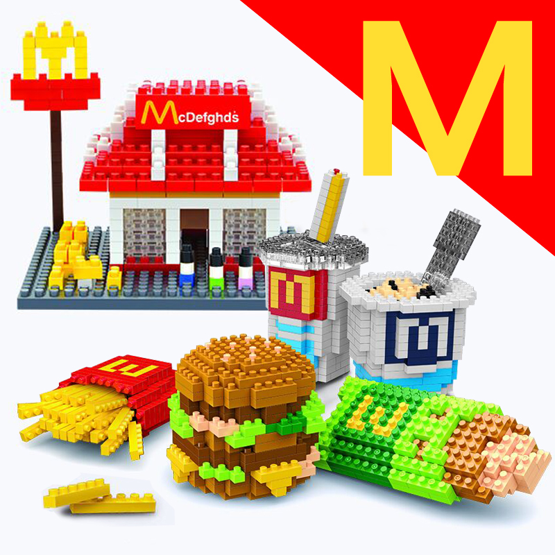 ФОТО wise hank building blocks sets educational diy brick toys mini blocks diamond blocks mcdonald hamburger fried chips model