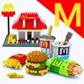 Wise HANK bloques huecos de la educación de bricolaje juguetes del ladrillo mini bloques bloques diamante McDonald hamburguesa fritas chips modelo
