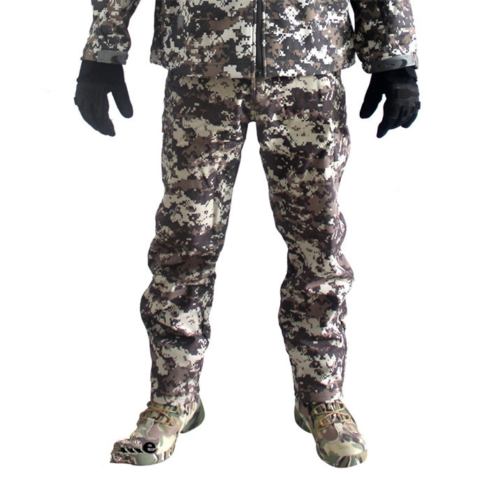 TAD Shark Skin Waterproof Windproof Outdoors Hike CS Camouflage Hunter Pants Men Fleece Trousers Military Army