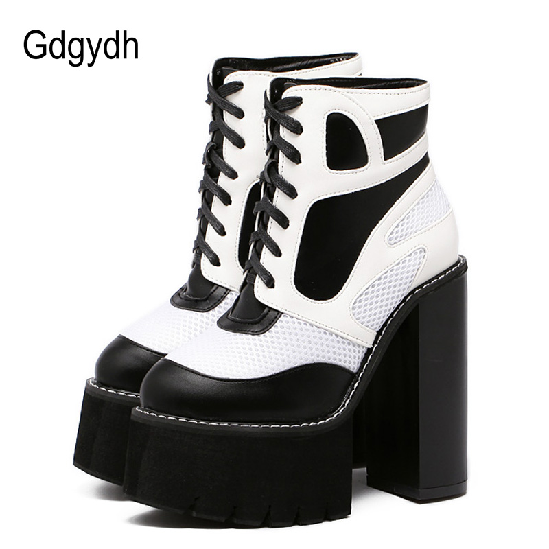 Gdgydh Fashion Spring Autumn Boots Women Platform Shoes Leather Woman Party Shoes Chunky Ankle Boots High Heels Black White newest women half knee high motorcycle boots vintage chunky heels spring autumn outdoor platform shoes woman female boots
