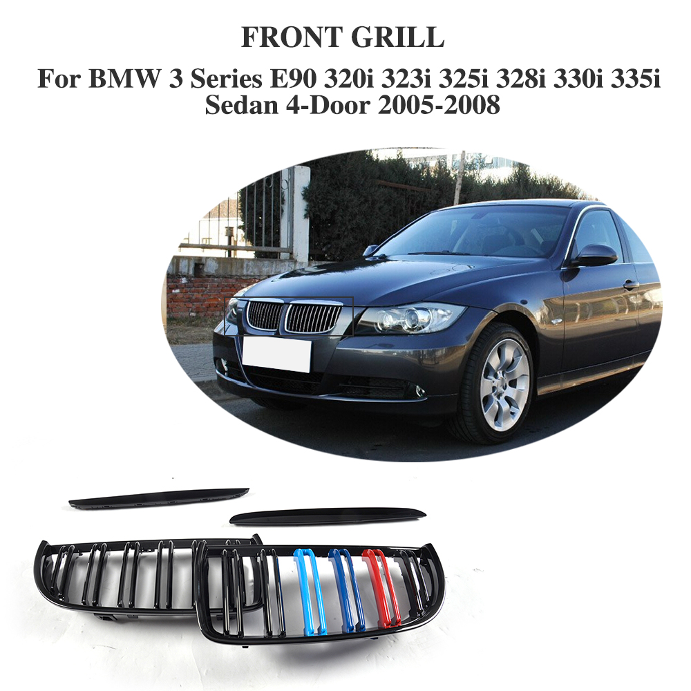 ABS Front Bumper Grille Cover Trim Accessories For BMW 3 Series E90 320i 323i 325i 328i 330i 335i Sedan 4 Door 05-12 3 series carbon front bumper racing grill grills for bmw f30 f31 standard sport 12 16 320i 325i 330i 340i non m3 style car cover