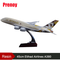 45cm Resin Etihad Airbus A380 Aircraft Model Etihad Airlines Airplane Stand Model A380 Airway Collection Adult Children Gift Toy
