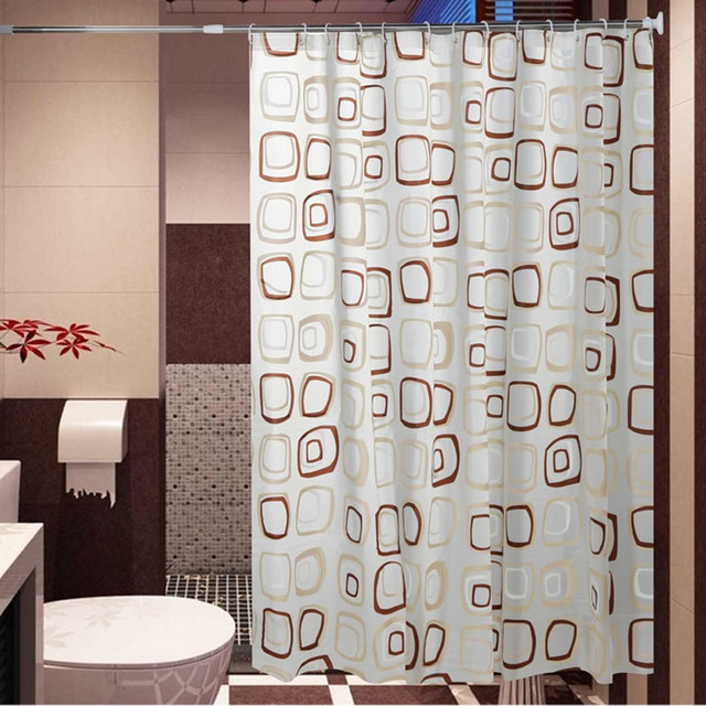 WaterProof Bath Curtain Square Pattern Home Curtains Bathroom Shower PEVA Fabric Free Shipping 8 Sizes