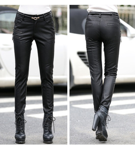 Image 3 - Spring Autumn Casual Leather Pants Women Hot Slim PU Leather Stylish Zipper Fashion Pencil Skinny Trousers For Woman With Belt