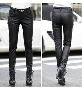 Image 3 - Wiosna jesień dorywczo spodnie skórzane damskie najnowsza obcisła PU skóra stylowy zamek moda ołówek spodnie Skinny fit dla kobiety z paskiem