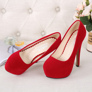 Image 5 - MAIERNISI Super High Heels Schuhe Flock Plattform Schuhe Mit Hohen Absätzen Pumpen Frauen Nachtclub Dünne Ferse Sexy Plus Große Größe 14cm High Heels