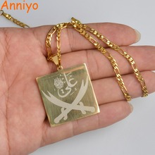 Anniyo imam ali espada pingente colar para mulher/homem muçulmano islam allah jóias ouro cor árabe faca atacado #012421