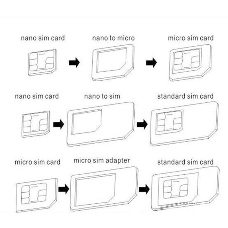 Nano sim-карта адаптер 4 в 1 адаптер Micro-SIM с извлекением Pin Ключ Розничная упаковка для iPhone 5/5s/6/6 S/samsung